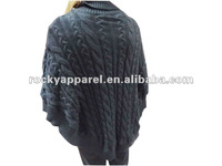 black crossroads patterm ladies poncho