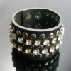 BTW12001 Genuine leather cuff with rhinestones and rivets