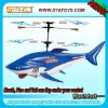 mini 3ch gyro infrared radio control helicopter with shark flying in the air