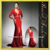 Hot Sale Chiffon Front Split Deep V-neck Beaded Red Evening Dress Long Sleeves