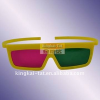 3D plastic Gree Blue glasses