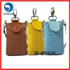 fashion newest pu crocheted mobile phone bag with strap