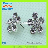 2012 light purple gleaming dazzling rhinestone CZ diamond amethyst flower shape stud earrings