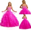 FG-053P Fashion backless design hot pink little girls party dresses