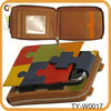Italian Leather wallet and holder for Ipod with puzzle pattern