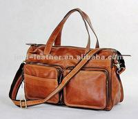 7138B Genuine Vintage Leather Unisex Brown Handbag Tote Travel Bag Messenger Excellent