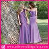 LV70026 Mermaid Strapless Floor length Pleated Purple Taffeta western bridesmaid dresses