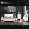 B904 Stylish white leather bedroom furniture set