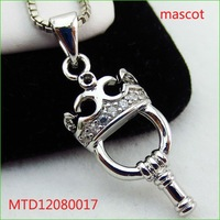 New cubic zirconia crown key pendant sterling silver 925