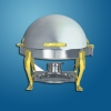 Round Roll Top Chafing Dish With Brass Legs