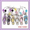 Beautiful Rhinestone flip-flop set of 6 Wine Glass stem Charms