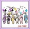 Beautiful Rhinestone flip-flop set of 6 Wine Glass stem Charms