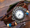 Graceful lady's hand-made leather bracelet watch flower shape watch