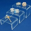3 Clear Acrylic Jewelry Display Risers Showcase Fixtures
