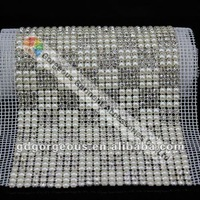 24 row bridal pearl crystal rhinestone mesh trim