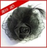 hat 008 Black LadyMini top Hat Feather Millinery Party Hair clips lace