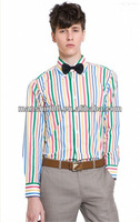 100% cotton long sleeve Chromatic stripe high button-down collar and french cuff dress shirts for men