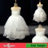 Real sample lovely organza sleeveless white flower girl dress patterns