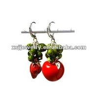 design fashion earrings red apple strawberry clips