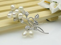 Bridal dress accessory flower fresh water pearl rhinestone brooch