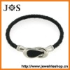 Fashion Jewelry Black Braided Leather Bracelet Clasp