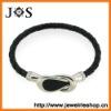 Fashion Jewelry Black Braided Leather Bracelet Clasp