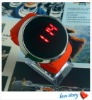 2012 Promotional PU Leather Strap Watch Cheap Touch Screen Watch Fashion LED Watch Red Sport Digital Watch Mirror Watch
