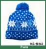 Christmas snowflake jacquard knitted beanie hat
