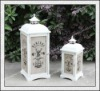 Latest wedding decoration!!! Antique White Wooden Candle Lantern/Lanterns with Fabric Cover H121609