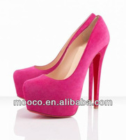 16cm pink velvet wedding shoes,lady high heel bridal shoes