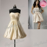 Strapless A-line ruffle natural waist Taffeta matron of honor dresses