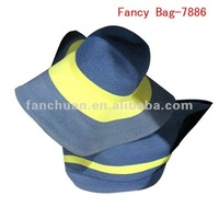 factory outlet cheap straw beach bag with hat