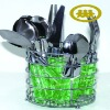 Plastic handle cutlery set with stand/hanger