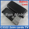 C3322 TV mobile phone with battery case, Quad band dual sim cards Wholesales!