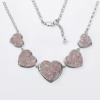 Heart Agate Druzy Necklace with 925 Sliver for Wholesales