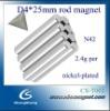 N42 D4*25mm rod rare earth neodymium magnet