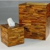 Gemstone tiger eye gold tissue box