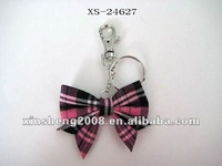 wholesale fabric bow girls keychains for pormotion