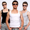 advertising high quality plain color rib mens tank top