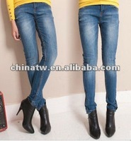 ej2405 Fashionable Thick Skinny Pencil Denim Jeans For Ladies
