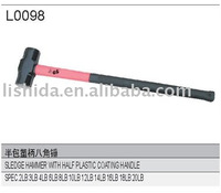 Sledge hammer with plastic coating handle