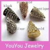 YA116 Silver plated with crystal rhinestone connector sharp cone!Jewelry decoration rhinestone spikes beads