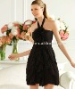 Custom Made Free Shipping halter with handmade flowers short prom dress 2012