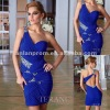 Custom Made Free Shipping One-shoulder Blue pleated girls party dresses