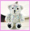 (SWP119) crystal teddy bear pendant necklace