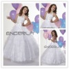 White Organza Halter Ball Gown Beaded Flower Girls' Dresses