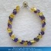 Purplish blue+golden yellow gemstone medical alert bracelets& bangle