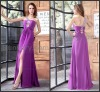 Cheap Purple One Shoulder Front Split Chiffon Long Formal Evening Gowns