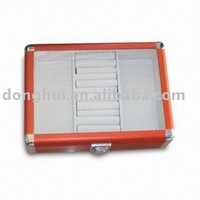 transparent top aluminum jewel box with tray inside