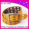 fashion yellow hollow leather dress belt